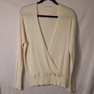 NWOT Elodie Ribbed Ivory Deep V-neck Sweater
